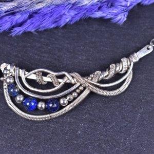 Collier 2578 Carwyn tissé argent massif et Lapis Lazuli