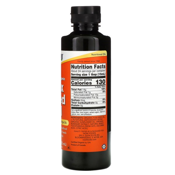 ow Foods - Flaxseed Oil 355ml. 24 Servicios (Aceite de linaza)
