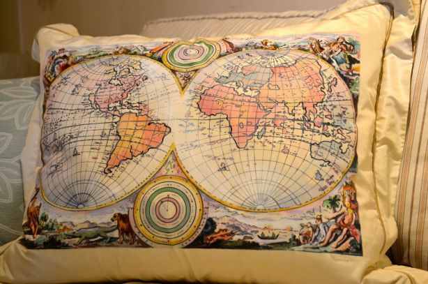 Maps of the world pillow