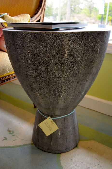 Shagreen drum side table