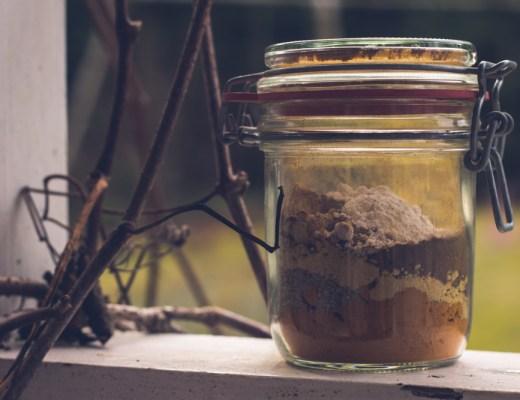 Kryddblandning till guldmjölk av gurkmeja, kardemumma, kanel, ingefära och svartpeppar.