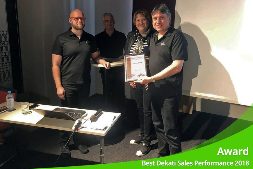"June 2019 – ENVILYSE receives award for ""Best Dekati Sales Performance 2018"""