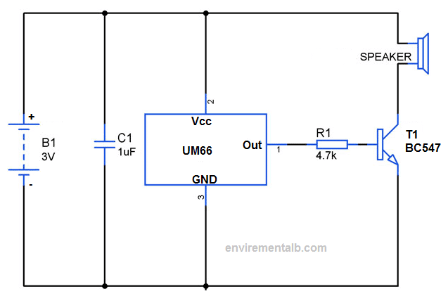 Song or Melody Generator Circuit using IC UM66TXX