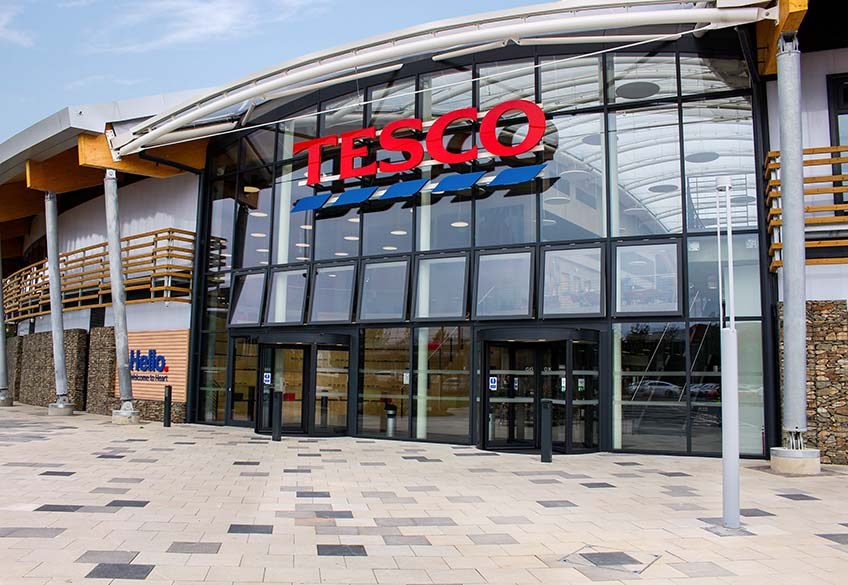 Post-Supported, freestanding, landscaping, benches gabiopns at Tesco project Heart