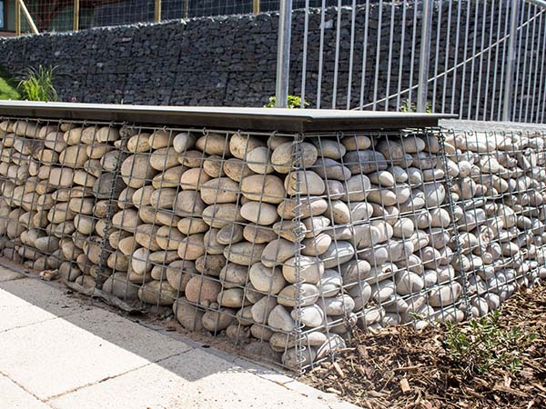 Abbot's Hill School Benches Welded Trapezoidal Gabion Landscaping