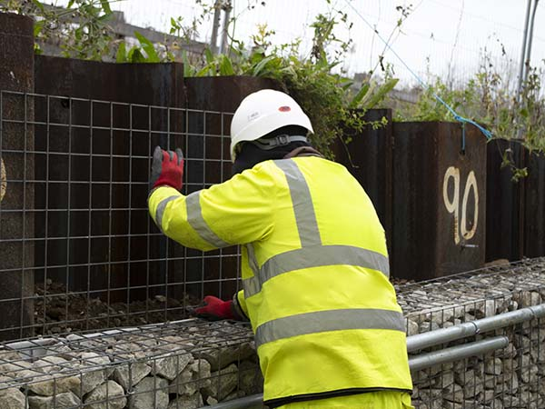Installation of architectural gabion cladding at Travelodge Gravesend