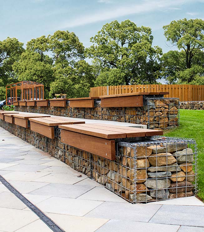 Tesco Project Heart Welded Benches Gabion Landscaping