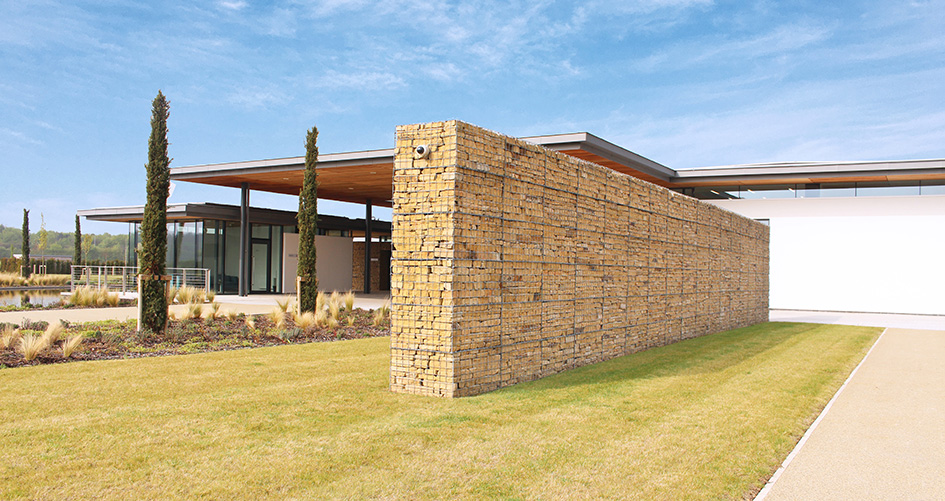 Trent Valley Crematorium Gabion Post Supported Walls