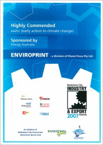 Early Action to Climate Change Award 2007
