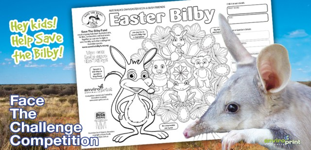 Face The Challenge Competition - 2017 Easter Bilby Colouring Comp