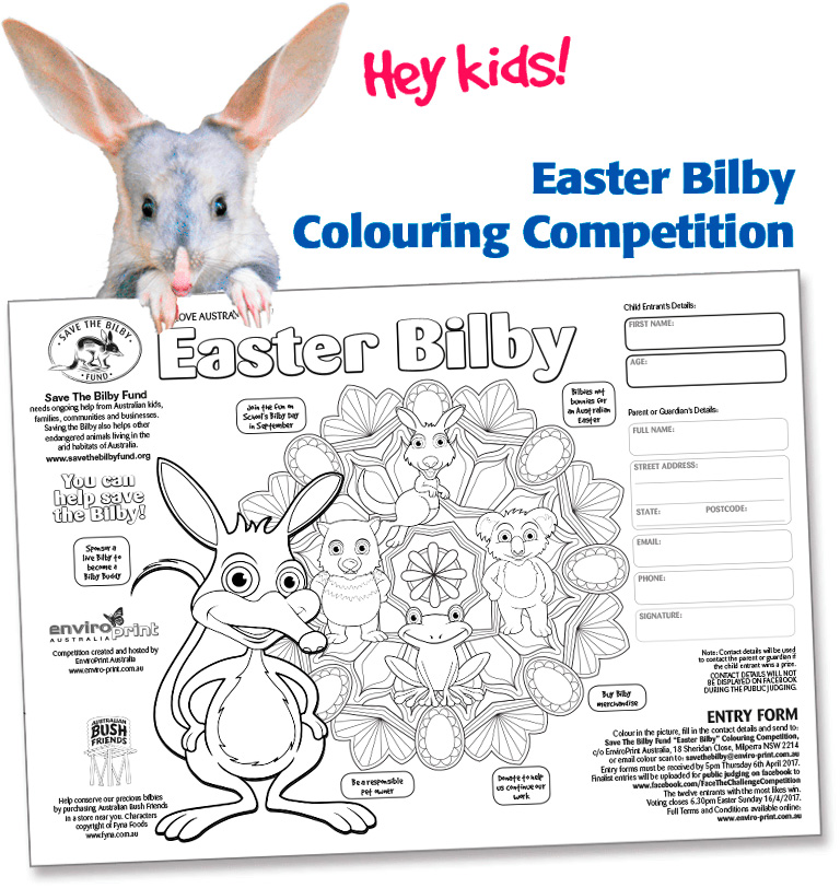 Easter Bilby Colouring Competition Entry Form 2017