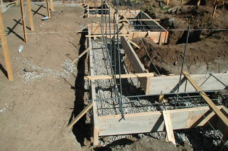 Foundation form work and rebar