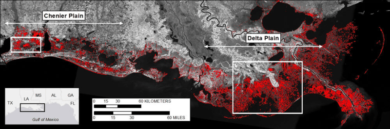 A model projection of how much land coastal Louisiana will lose by the year 2100.