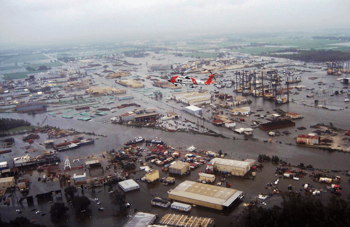 A flooded city following landfall of a major hurricane.