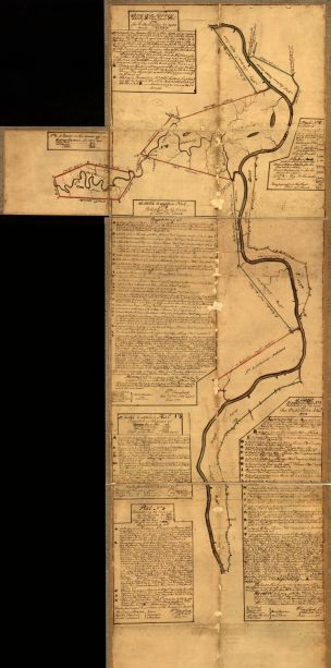 Survey map created by George Washington. Includes one long river and several paragraphs of handwritten text describing the landscape.