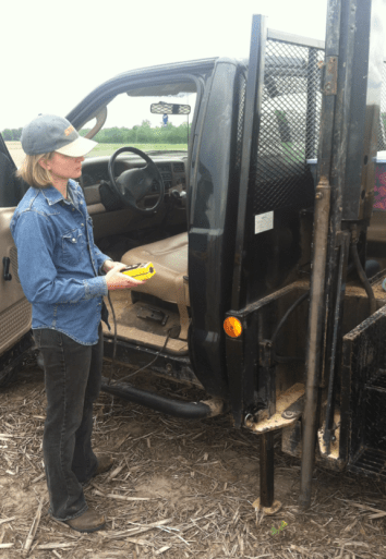Taking soil samples with truck-mounted soil corer