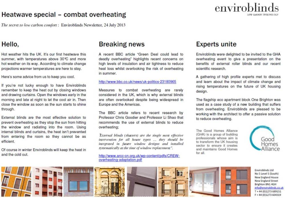 Enviroblinds Newsletter July 2013