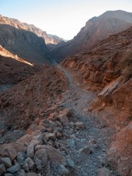 The rocky pathways that wind the steep sides of Todra Gorge, Morocco