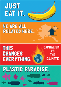 A collage of the graphics from the 2015-2016 sustainability film series posters