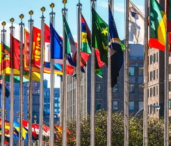 United Nations flags in a semi circle