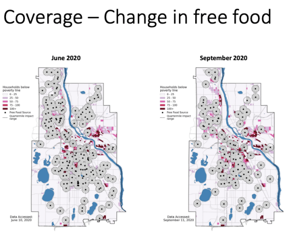 Two of the maps put together by IonE staff to illustrate the decline in food security in Minneapolis in the summer of 2020. Both maps identify both average levels of poverty and the availability of places to access free food. The map to the left shows data from June 2020 and the map to the right shows data from September 2020. There is a clear decline in food availability between those two months.