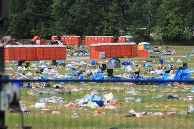What's left behind after illegal camping at Burl's Creek Event Grounds