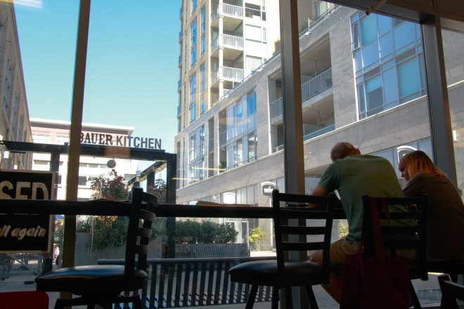 View of new housing from a new restaurant in Kitchener