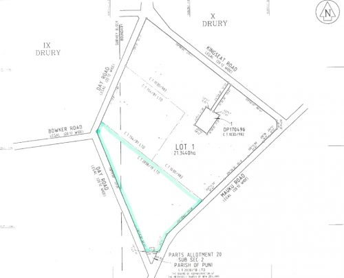 Map showing location of market garden in Day Road, Patumahoe