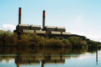 Figure 4. Huntly Power Station today, as seen from the north bank of the Waikato River. Photograph: Mr J.P. Whittle, 2013.