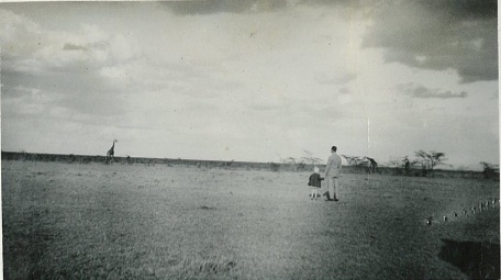 Figure Four. Dennis McCarthy and his daughter Barbara with giraffe on the Athi plains near Nairobi, Kenya, 1934.
