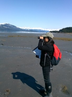 Lesly looking at western sandpipers