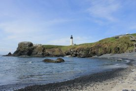 View of lighthouse from Cobble Beach