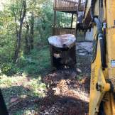 removing metal septic tank with backhoe 1-2-2017