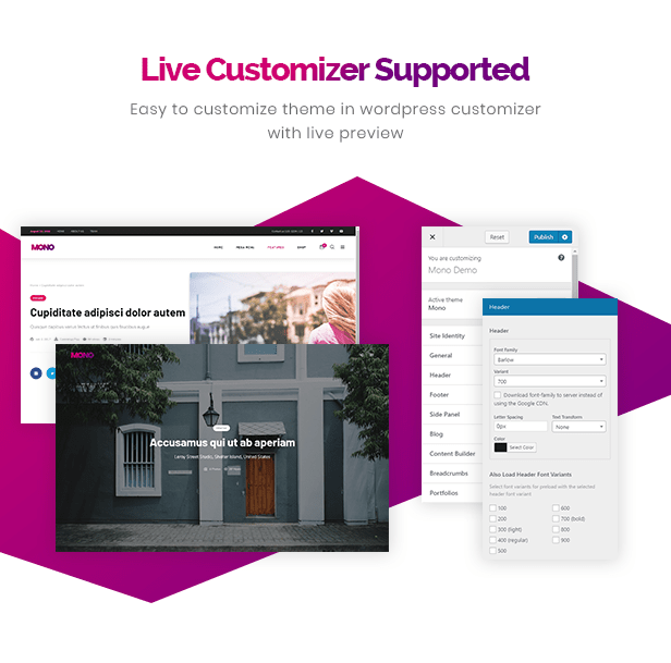 Live Customizer Supported