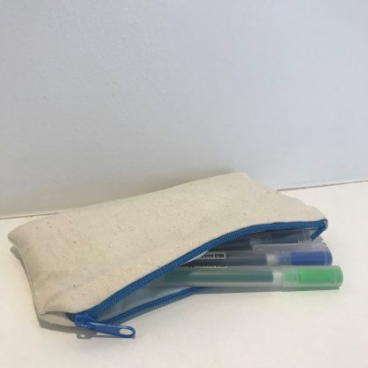 calico pencil case with blue zip