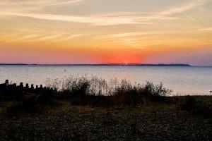Sunset overlooking water