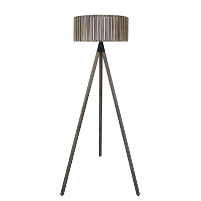 Grey hollywood floor lamp with round grey wooden shade en vogue grey hollywood floor lamp with round grey wooden shade aloadofball Choice Image
