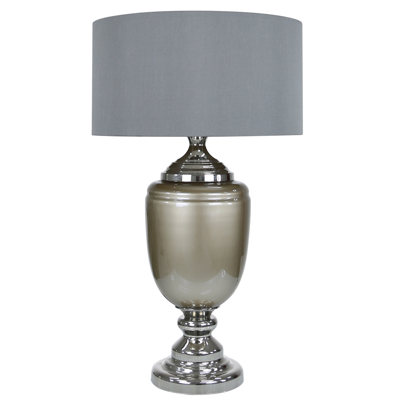 Taupe Pearl Glass Table Lamp With Grey
