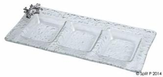 coral glass 3 section tray