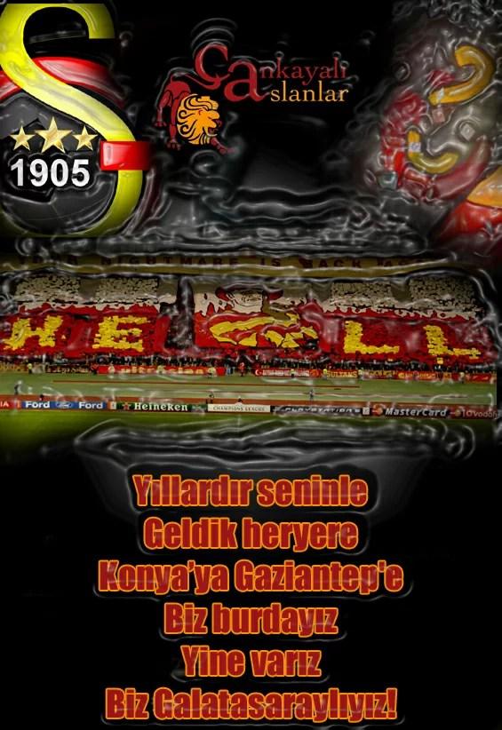 Yıllardır seninle geldik heryere Konyaya Gaziantepe biz burdayız yine varız biz Galatasaraylıyız - Galatasaray İle İlgili Resimli Sözler - Galatasaray Sözleri Ve Kareografileri, resimli-sozler