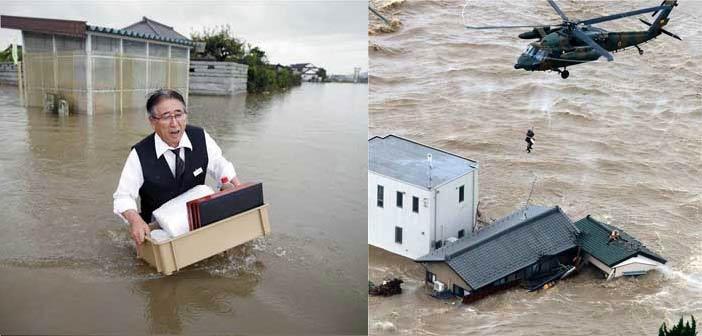 Πλημμύρισε η Ιαπωνία – Δραματικές επιχειρήσεις διάσωσης  πολιτών