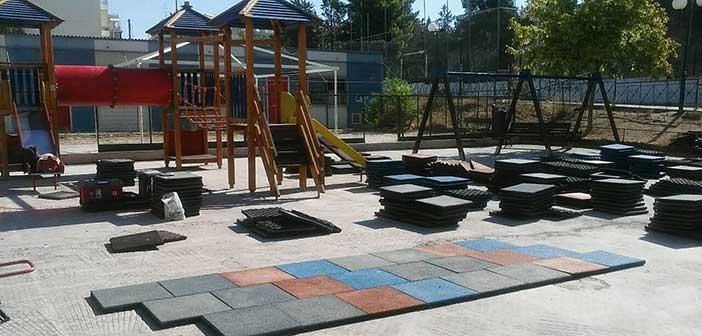Αποκατάσταση δαπέδων πρόσκρουσης σε παιδικές χαρές Δήμου Μεταμόρφωσης