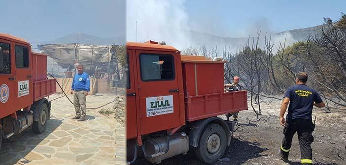 Ο ΣΠΑΠ στην προσπάθεια κατάσβεσης της πυρκαγιάς στην Κάρυστο