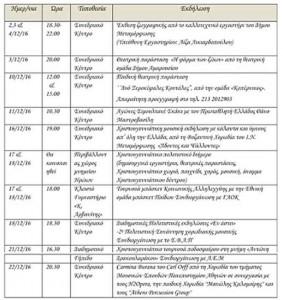 Πρόγραμμα εκδηλώσεων Δεκεμβρίου 2016 Δήμου Μεταμόρφωσης (Μέρος Α)