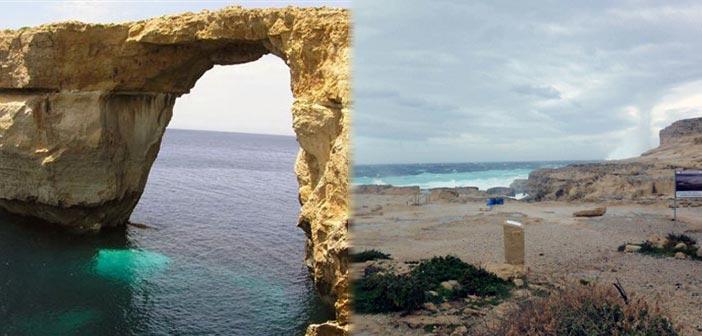 Κατέρρευσε στη θάλασσα το «Γαλάζιο Παράθυρο» της Μάλτας
