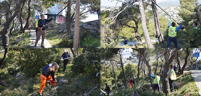 ΣΠΑΠ και Δασαρχείο Πεντέλης «καθαρίζουν» στον Λόφο του Προφήτη Ηλία, στη Ν. Πεντέλη