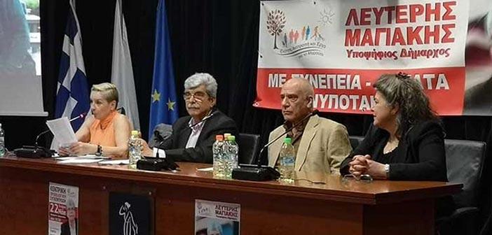 Τις θέσεις της Ενότητας ανέλυσε ο Λ. Μαγιάκης στην κεντρική προεκλογική του ομιλία
