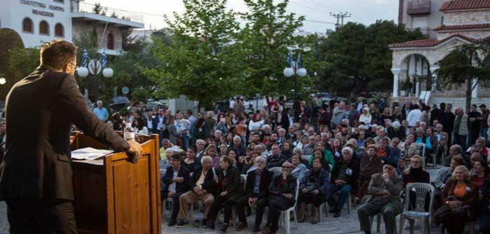 Στην πλατεία Αγ. Γεωργίου, στα Μελίσσια, μίλησε ο Άγγ. Παλαιοδήμος