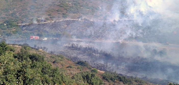 Πυρκαγιά στην Πεντέλη στη συμβολή της Δουκίσσης Πλακεντίας με την Κλεισθένους