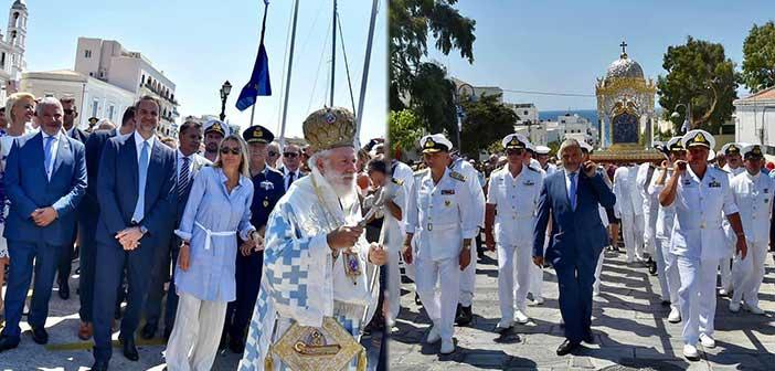 Στην Τήνο για τον εορτασμό της Κοιμήσεως της Θεοτόκου ο Γιώργος Πατούλης